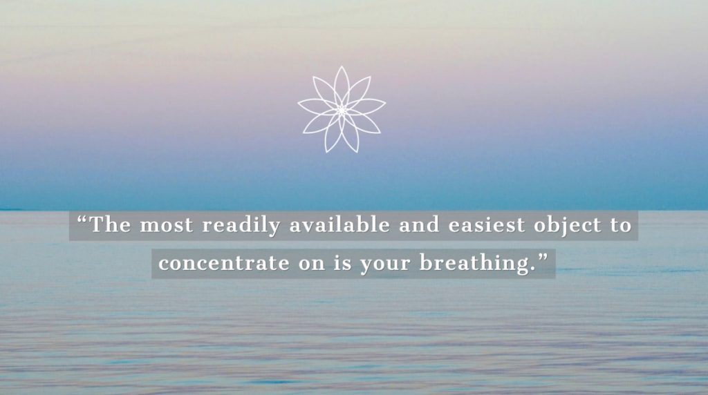 Photo of horizon at sea with meditation quote